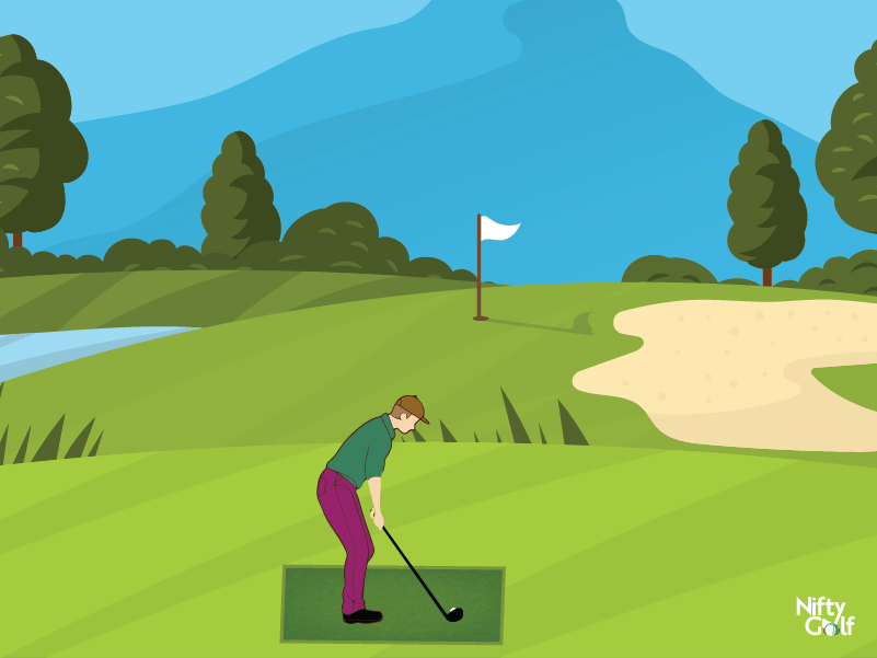 golf ball position in tee box