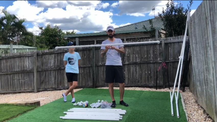 Make some poles for golf hitting net